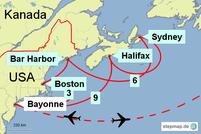 Karte mit der Reiseroute mit MEIN SCHIFF 6 in den USA und Kanada