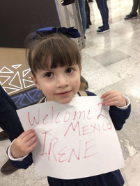 Isabella holding up my welcome sign: Welcome 2 Mexico Irene