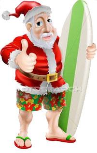 Weihnachtsmann Surfer