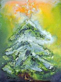 Weihnachten, Acryl, Marmormehl, Weihnachtsbaum, Kunstkarte, grün