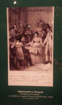 リーディングをしているルノルマンの肖像画(パリ郊外イッシーのカード博物館に展示)