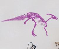 Dinosaur Parasaurolophus Skeleton wall art sticker