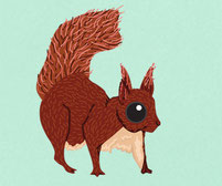 Woodland Squirrel printed colourful wall art sticker