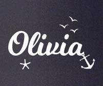 Anchor and Sea Personalised Name sticker
