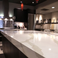 Pental Quartz Polished Calacatta Countertop in a tile showroom