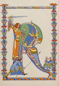 Enluminure Saint-Georges terrassant les dragons. Interprétation Martine Saussure-Young, Or-et-Caractères