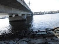 遠賀川 芦屋橋 橋桁周辺