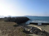 さつき松原海岸 テトラポットの波止