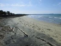 西郷川 河口周辺 左側砂浜