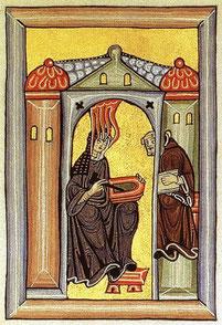 Hildegard von Bingen bei der Aufzeichnung, Miniatur aus dem Rupertsberger Codex