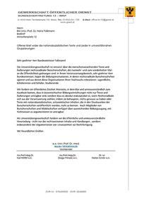 Offener Brief der Gewerkschaft der Hochschullehrer/innen an BM Univ.-Prof. Dr. Heinz Faßmann: Wider die nationalsozialistischen Texte und Lieder in universitätsnahen Gruppierungen