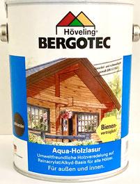 Bergotec Aqua-Holzlasur auf Reinacrylat - Basis für alle Hölzer - umweltfreundlich - feuchtigkeitsregulierend