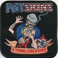 FAT SKINS, A young man´s Game, Boot Boys, Rocker Old School Biker Aufnäher Patch Abzeichen, Fisherman and newbie Kid