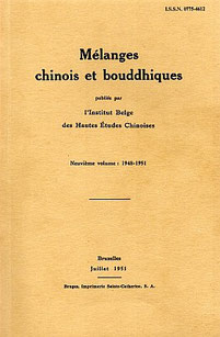 Couverture. Henri Maspero (1883-1945) : Le Ming-t'ang et la crise religieuse avant les Han. — Mélanges chinois et bouddhiques, volume IX, 1948-1951, pages 1-71.