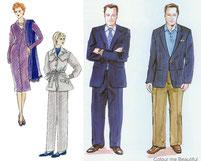 Männer und Frauen in strengem Business-Look