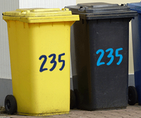 Handwritten style wheelie bin numbers