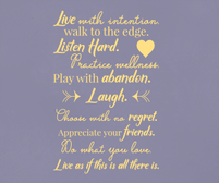 Live with intention wall art sticker quote