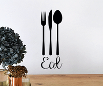 Eat Fork Knife Spoon wall art sticker for kitchens and dining rooms