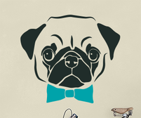 Pug wall art sticker with bow tie and other accessories.