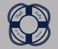 Life Ring Personalised Wedding Sticker