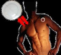 Beispiel für Klebepunkte der Biophotonenpflaster am Körper