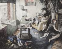 """""""Der Epidemiebote"""", Aquarell und Tusche, A3, 2008"""