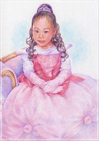 色鉛筆似顔絵 写実 リアル お姫様