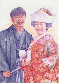 色鉛筆似顔絵 写実 リアル 結婚式 色打掛
