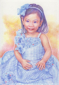 色鉛筆似顔絵 写実 リアル 七五三 ドレスアップ