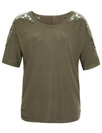 T-Shirt, khaki mit Blumenstickerei  in großen Größen