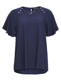 elegante Bluse, marineblau mit Spitzendekolleté  in großen Größen