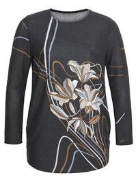 weicher Pullover mit Blumenmuster schwarz in großen Größen