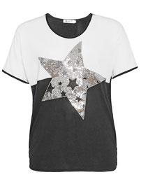T-Shirt in großen Größen ,  T-Shirt schwarz-weiß Paillettenstern XXL