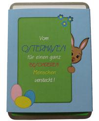Grüße vom Osterhasen, Geschenkbox mit Bamderole