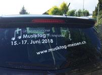 Druckatelier46 Mülchi, Bern - Autobeschriftung, Heckscheibe Musiktag in Messen 2018