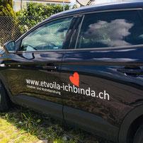 Druckatelier46 Mülchi, Bern - Autobeschriftung für Et voilà - ich bin da!