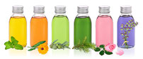 flacons colorés huiles végétales hydrolats
