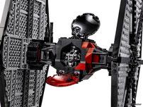 Die Besonderheiten im Lego Paket 75101 sind das zu öffnete Cockpit und die rotierende Antenne um den Feind aufzuspüren.
