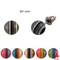 Boucles d'oreilles perles rayées colorées 10 mm