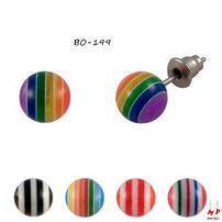 Boucles d'oreilles perles rayées colorées 8 mm