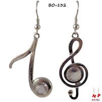 Boucles d'oreilles double notes de musique argentées
