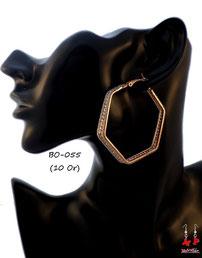 Boucles d'oreilles anneaux dorés en forme d'hexagone
