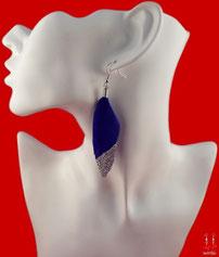 Boucles d'oreilles pendantes plumes bleues et paillettes argentées