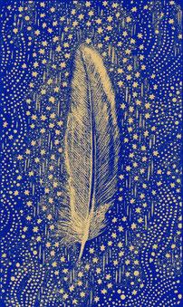Plume dessinée par Myrrha pour le dos des cartes du Tarot de l'Ange Liberté