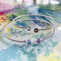 "Fine bracelet ""Orbit"" with precious stones, flexible size"