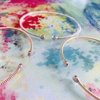 "Flexible twist bracelet ""Glitter mini"" with sparkling rock crystals"