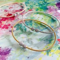 "Flexible twist bracelet ""Glitter maxi"" with sparkling rock crystals"