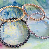 "Stretch Bracelet ""Silver Spheres"" in four different colours"