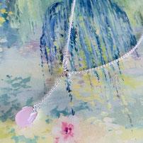 "Elegant flexible Sterling Silver Necklace ""Y"" with precious stone"