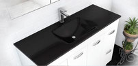 MAMBO BLACK tempered glass basin tops.  Available in 600, 750, 900, 1200, 1500mm
